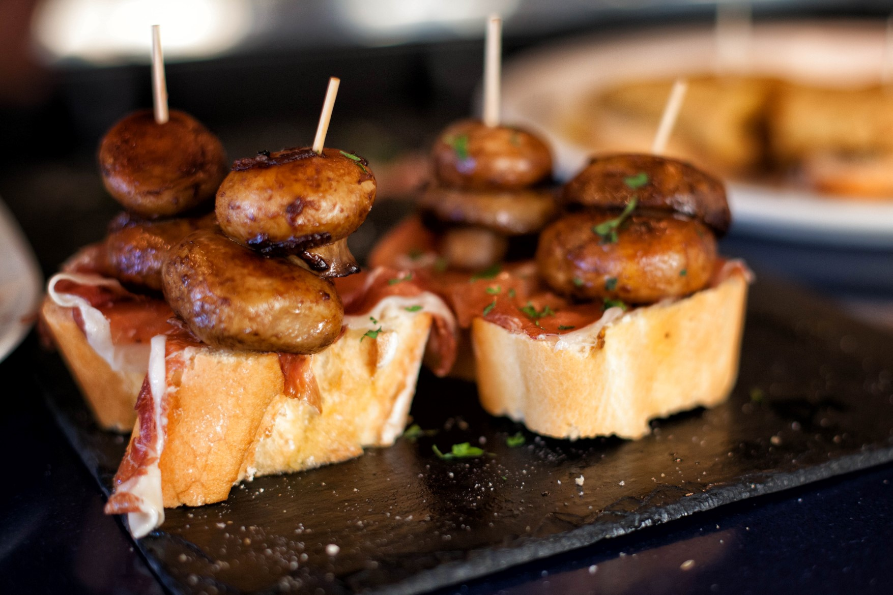 Mushroom and Ham Pintxos